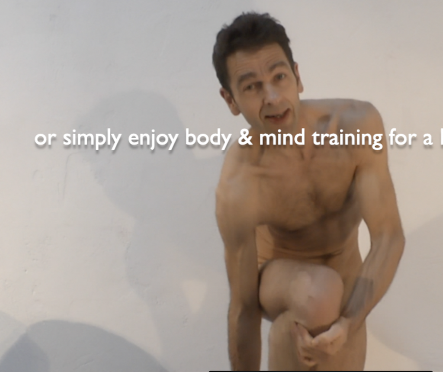 naked personal trainer taking trousers off